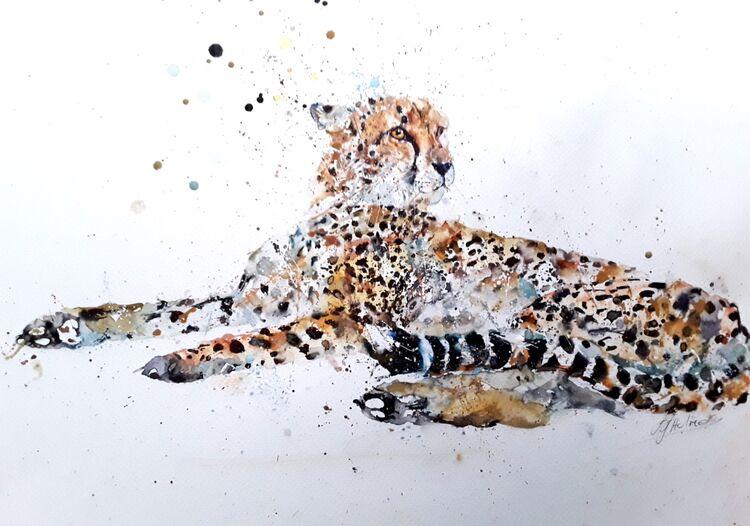 Cheetah cat painting