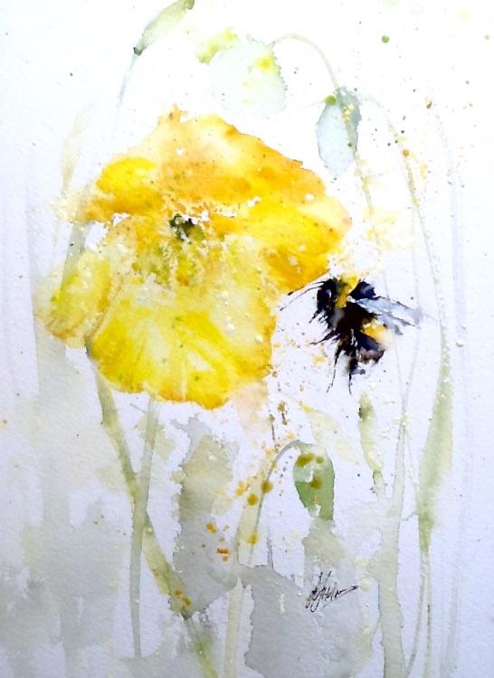 Bee poppy painting