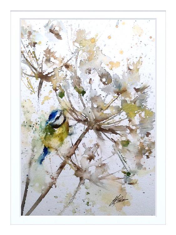 Bird painting blue tit