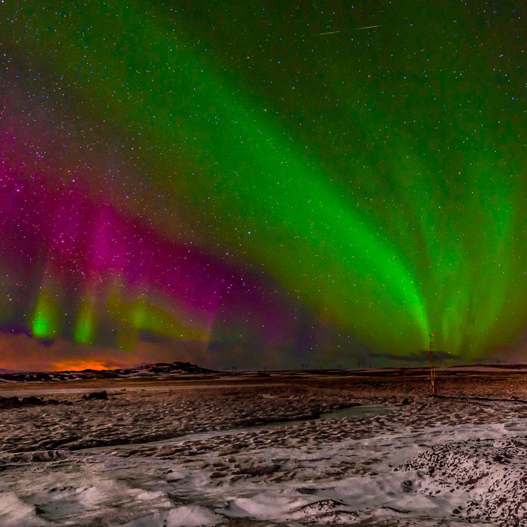 T he aurora borealis, Northern Lights painting the sky