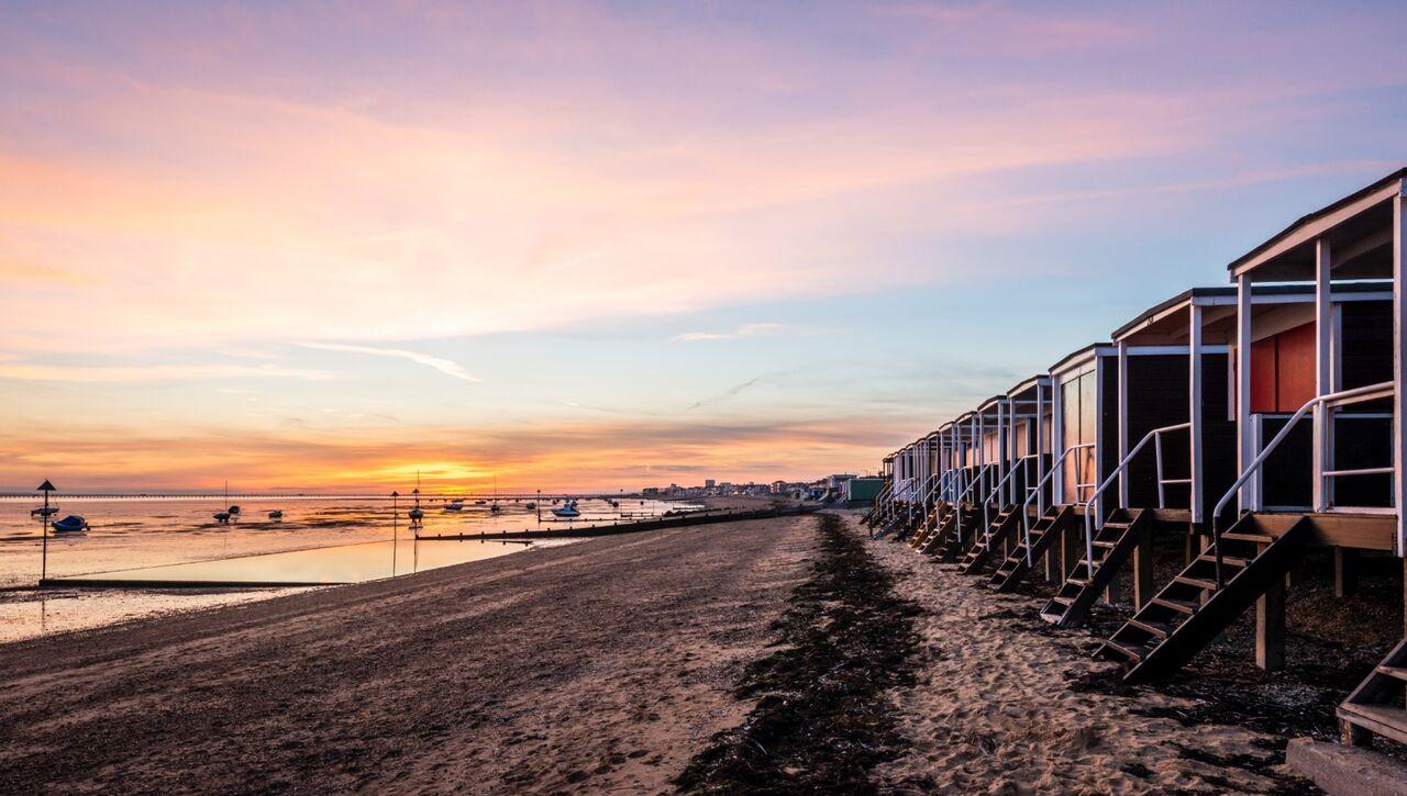 Beach Hut Sunset.