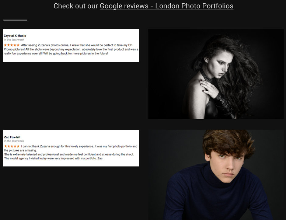 Google reviews for London Photo Portfolios