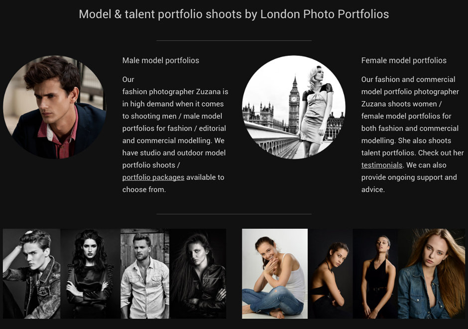 London Photo Portfolios - Model portfolio shoots