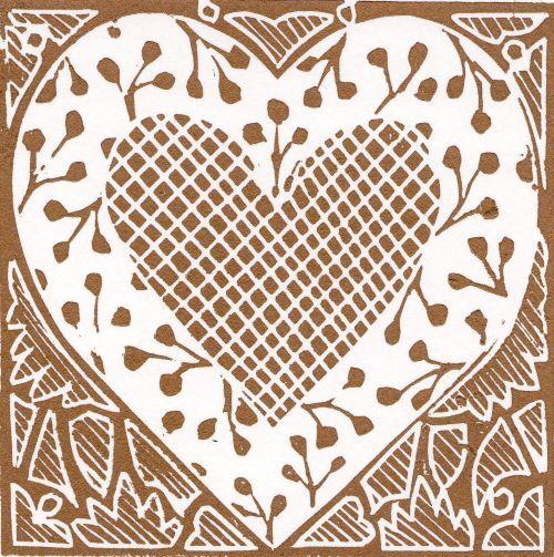 Gold & Cream Linocut Heart