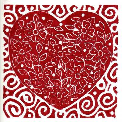 Red and white heart with spirals