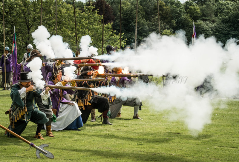Musket volley.