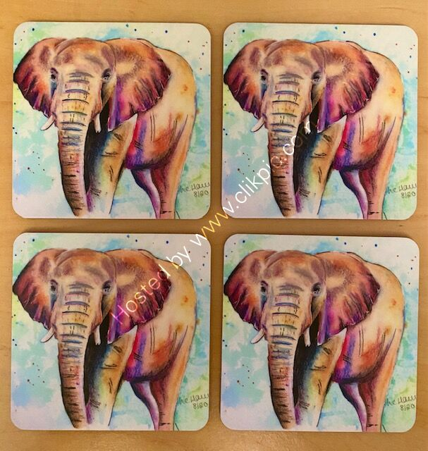 Set of 4 Sunglow Elephant Coasters for £12