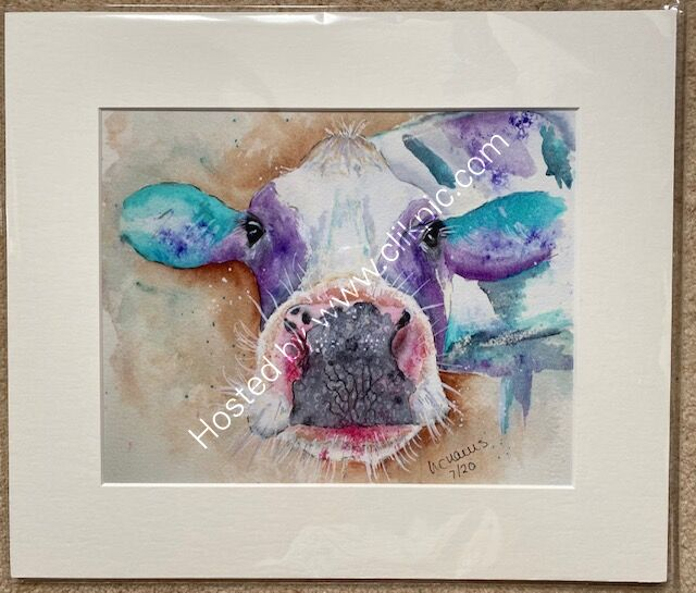 Cow's it Going mounted print