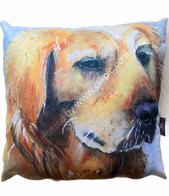Golden Retriever Vegan Suede Cushion