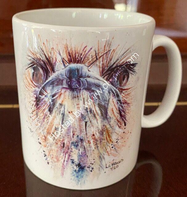 Ostrich with Attitude earthenware mug.
