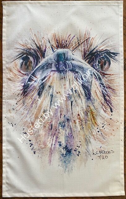 Ostrich with Attitude tea towel.