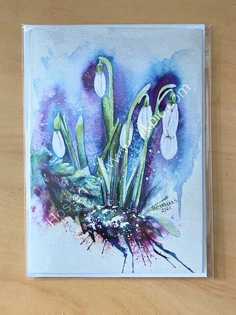 Gentle and Strong Snowdrops card