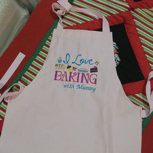 Handmade Embroidered Child Apron in Pink, Baking with Mummy