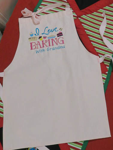 Handmade Child Apron in Pink, Embroidered, Baking with Grandma