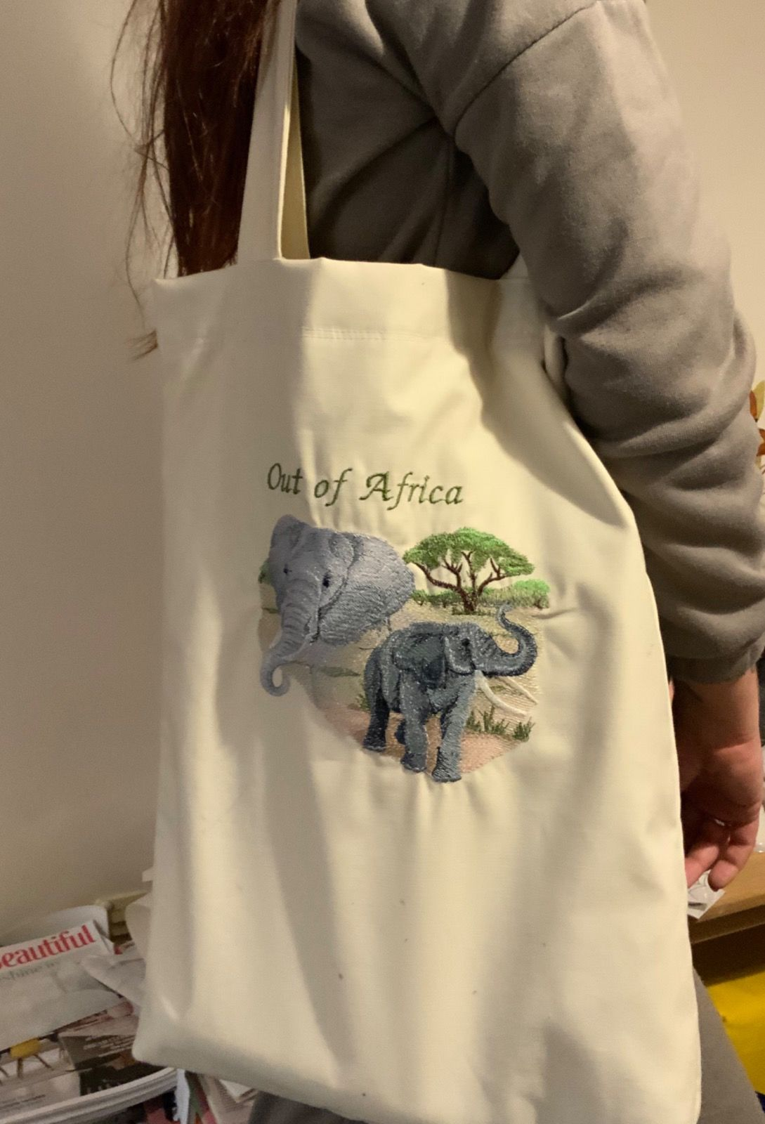 Embroidered Elephant Design lined Tote bag