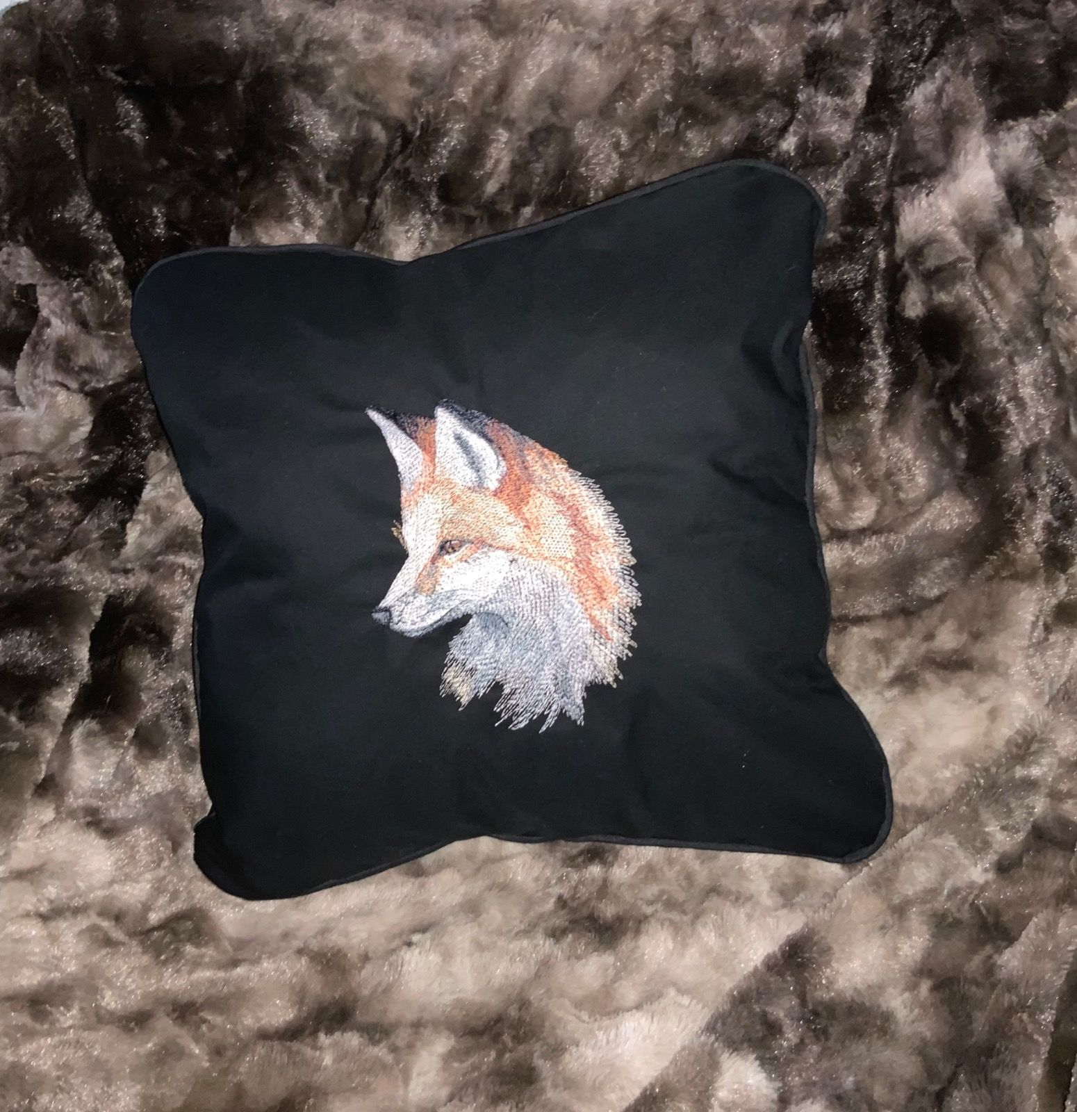 Embroidered Fox on Handmade Black Cushion with Piped Edges
