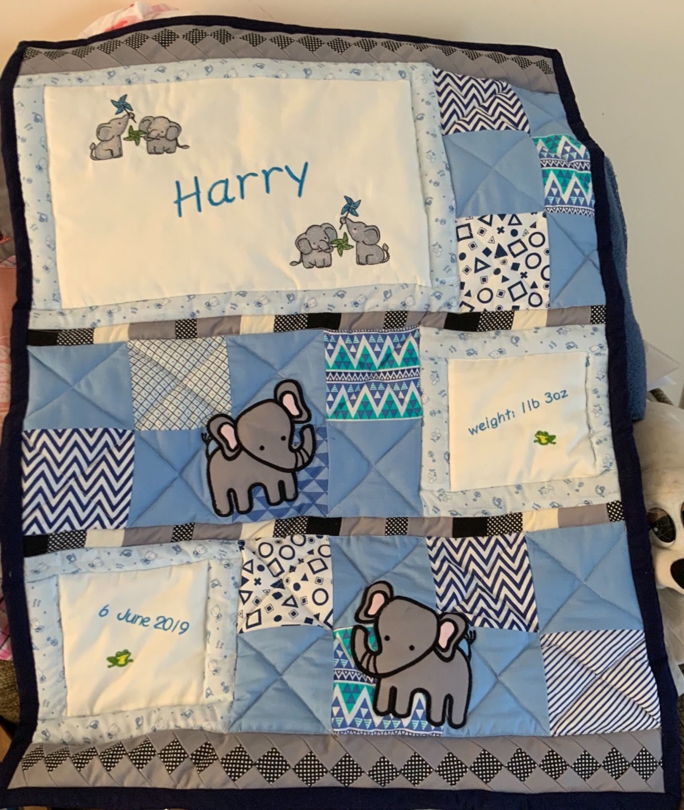 Bespoke personalised baby quilt- boy