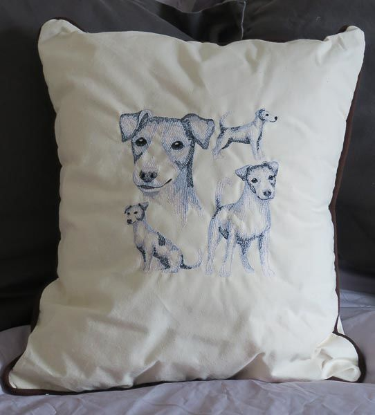 Embroidered Jack Russell Cushion in Cream White