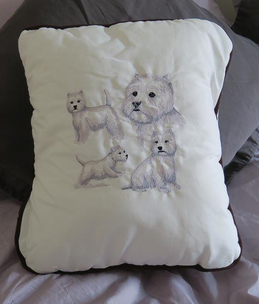 Embroidered West Highland White Cushion