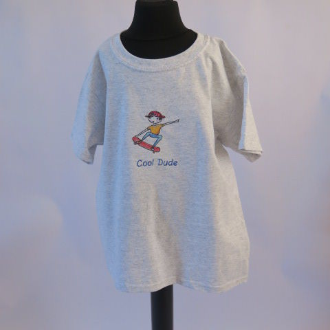 Cool Dude Grey Embroidered Child Tee Shirt