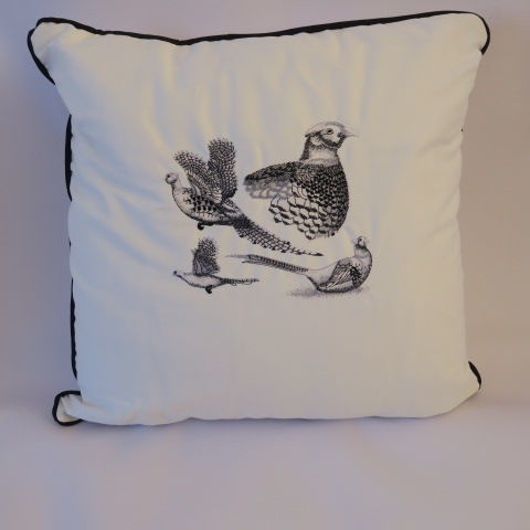 Embroidered Pheasant Design Cushion