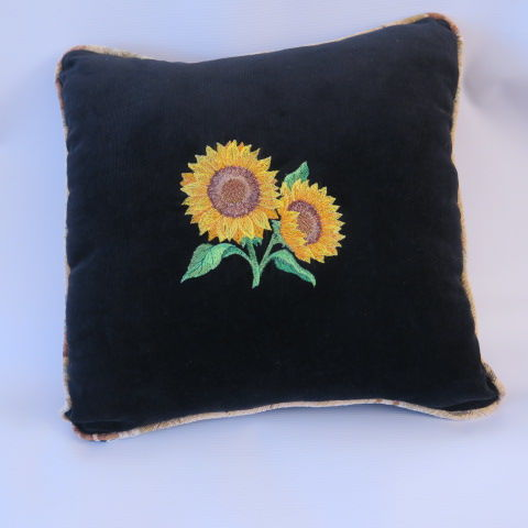 Embroidered Sunflower Cushion, Black