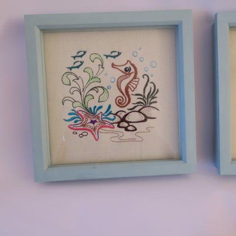 Embroidered Sea Horse scene in Duck Egg Blue Frame
