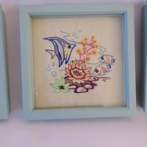 Embroidered Under the Sea Fish in Duck Egg Blue Frame