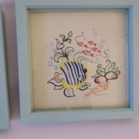 Embroidered Under the Sea 2 Fish in Duck Egg Blue Frame