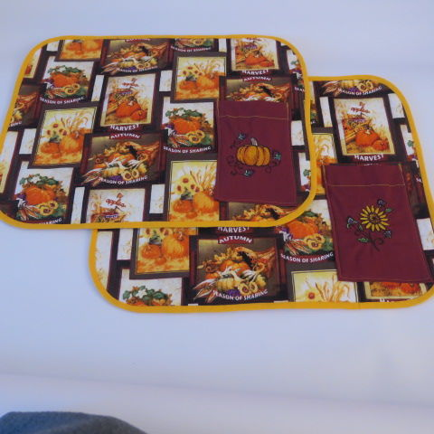 Autumn Table Mats with Embroidered Cutlery Pocket