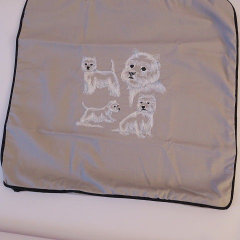 Embroidered West Highland Cushion Cover in Grey