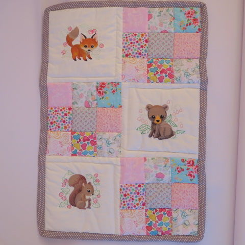 Woodland Creatures Baby Girl Embroidered Quilt
