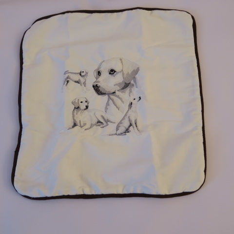 Embroidered Labrador on White Cushion