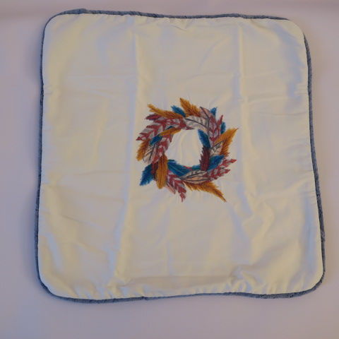 Embroidered Feather Wreath design on Cushion White
