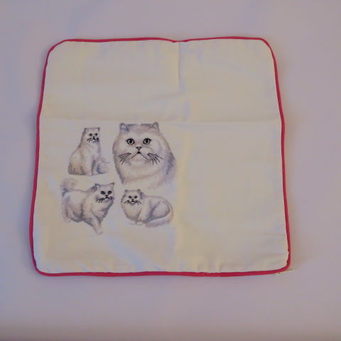 Embroidered Cat Design Handmade cushion cover