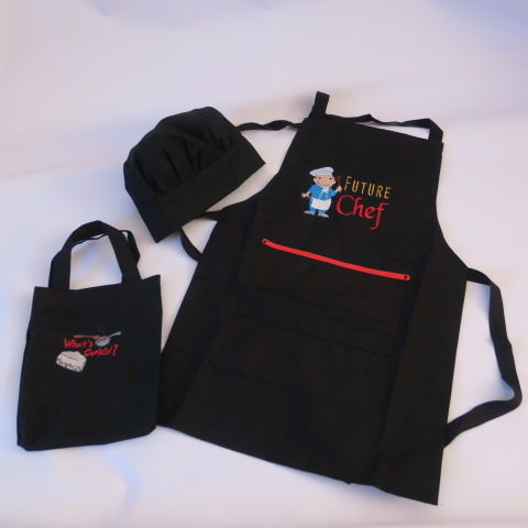 Embroidered Childs Apron set in Black