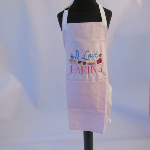 Handmade Embroidered Child Apron in Pink