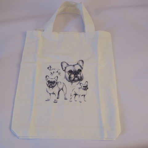 Embroidered Shopping Bag - French Bull Dog