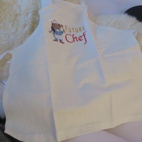 Embroidered Child Apron in Cream