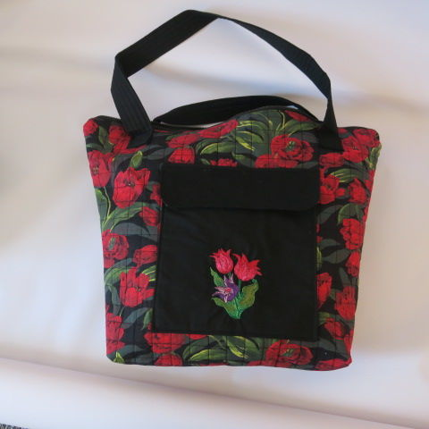 Embroidered Quilted Tulip Design Tote in Black and Red