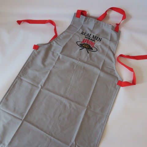 Embroidered Men's Apron - Grey