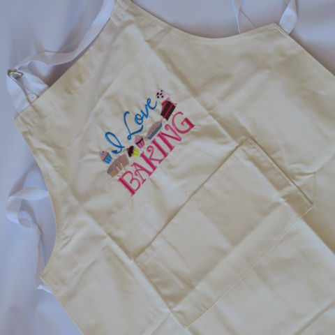 Embroidered Adult Apron in Cream