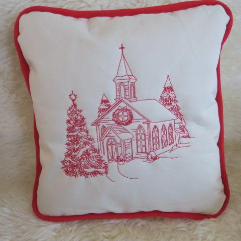 Christmas Cushion - Church in the Snow