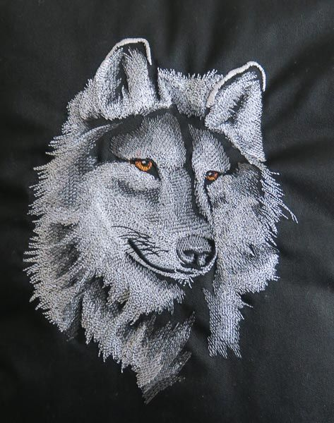 Embroidered Wolf Cushion in Black
