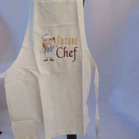Embroidered Child Apron in Cream
