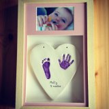 Framed heart clay imprint with photo £75