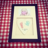 Framed heart clay imprint with photo