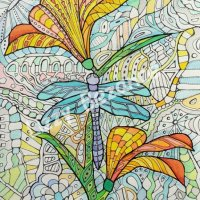 Dragon fly and flower