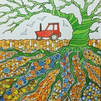 tractor and sea gulls