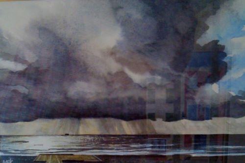 Storm at Abereiddy - watercolour